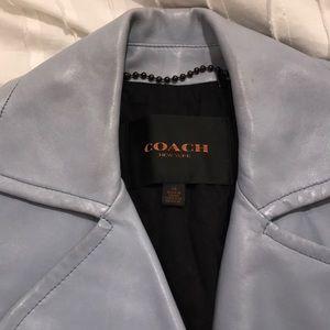 Coach leather jacket- bluish grey